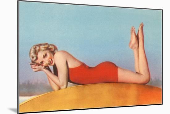 Blonde in Red Bathing Suit--Mounted Art Print