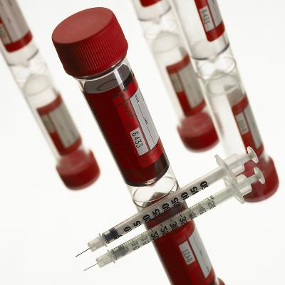 Blood Samples And Syringe-Mark Sykes-Photographic Print