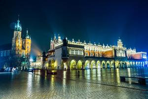 Poland, Krakow. Market Square at Night. by bloodua
