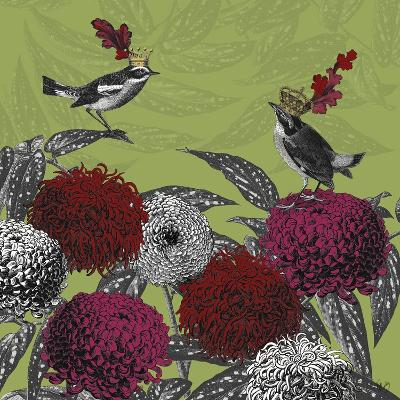 Blooming Birds, Chrysanthemum 1, Fine Art Print-Fab Funky-Art Print