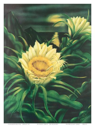 Blooming Cereus with Full Moon, Hawaii-Ted Mundorff-Art Print