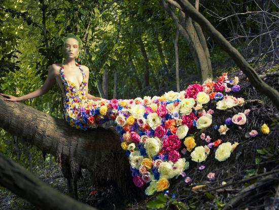 Blooming Gorgeous Lady In A Dress Of Flowers In The Rainforest-George Mayer-Art Print