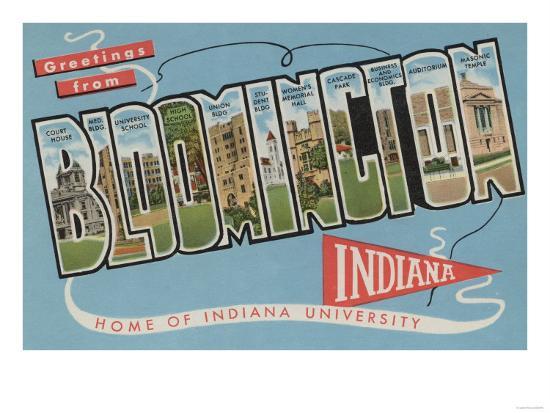 Bloomington, Indiana - Indiana University-Lantern Press-Art Print