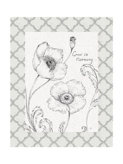 Blossom Sketches Words I Border-Daphne Brissonnet-Art Print