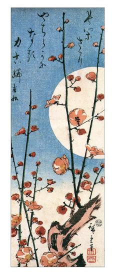 Blossoming Plum Tree with Full Moon-Ando Hiroshige-Giclee Print