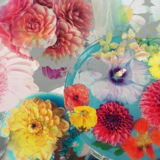 Blossoms in Blue Water as Table Decoration with Glass and Textiles-Alaya Gadeh-Photographic Print