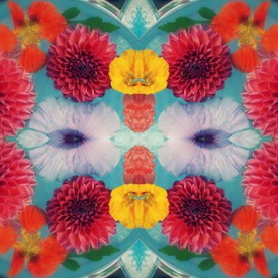 Blossoms in Blue Water Symmetric Layer Work-Alaya Gadeh-Photographic Print