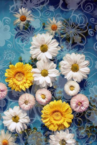 Blossoms in Water with Hand Drawing Floral Ornaments, Photographic Layer Work-Alaya Gadeh-Photographic Print