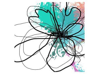 Blue Abstract Brush Splash Flower-Irena Orlov-Art Print