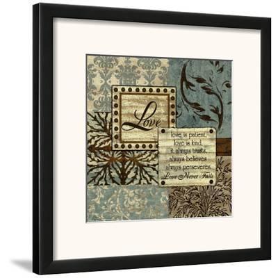 Blue and Brown Love-Marilu Windvand-Framed Art Print