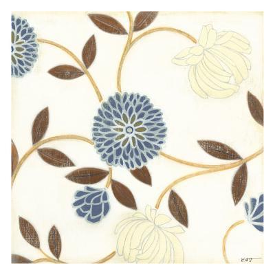 Blue and Cream Flowers on Silk I-Norman Wyatt Jr^-Art Print