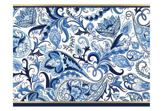 Blue and Gold Paisleys 1-Kimberly Allen-Art Print