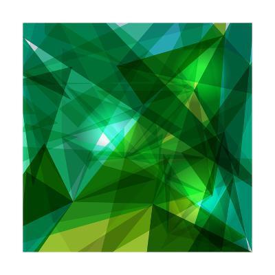 Blue and Green Geometric Pattern-cienpies-Art Print