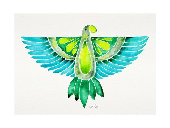 Blue and Green Parrot-Cat Coquillette-Giclee Print