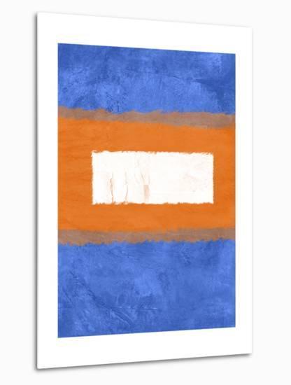 Blue and Orange Abstract Theme 1-NaxArt-Metal Print