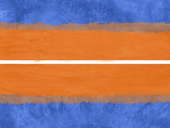 Blue and Orange Abstract Theme 4-NaxArt-Art Print