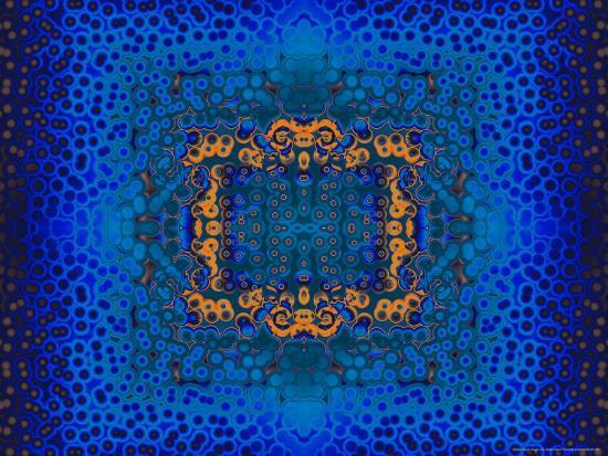Blue and Orange Fractal Design-Albert Klein-Photographic Print