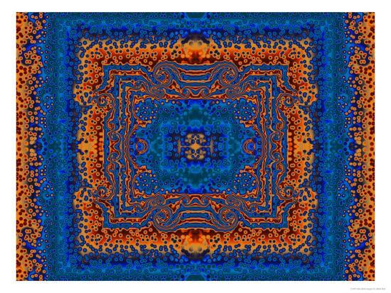 Blue and Orange Morrocan Style Fractal Design-Albert Klein-Photographic Print