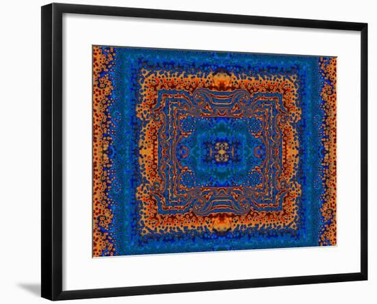 Blue and Orange Morrocan Style Fractal Design-Albert Klein-Framed Photographic Print