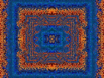 Blue and Orange Morrocan Style Fractal Design-Albert Klein-Photographic Print