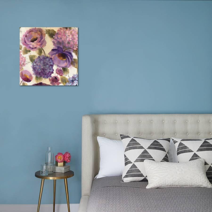 Blue And Purple Flower Song Iii Art Print By Silvia Vassileva Art