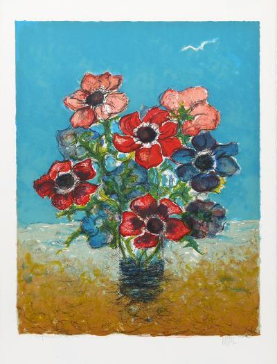 Blue and Red Flowers-Henri Westel-Limited Edition