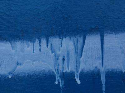 Blue and White Paint Dripping Down Wall--Photographic Print