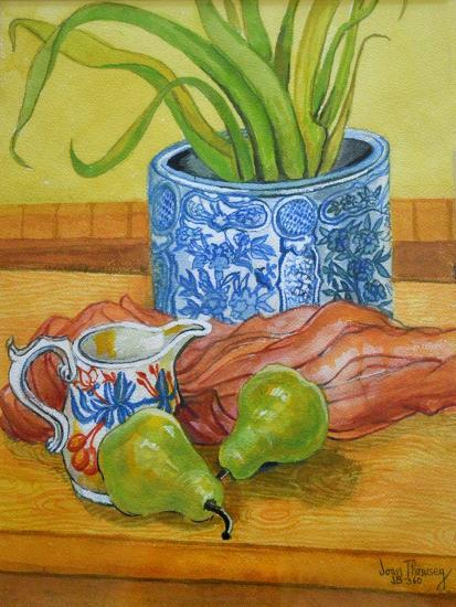 Blue and White Pot, Jug and Pears-Joan Thewsey-Giclee Print