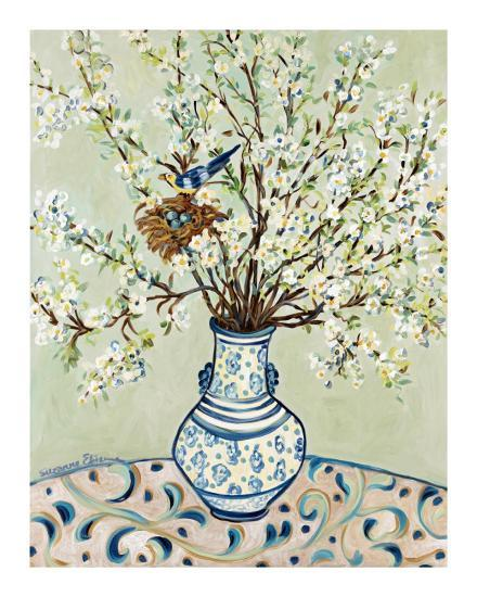 Blue and White Vase with Bird-Suzanne Etienne-Art Print