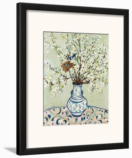 Blue and White Vase with Bird-Suzanne Etienne-Framed Art Print