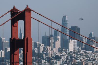 Blue Angels Arrive at Golden Gate Bridge, San Francisco-Vincent James-Photographic Print