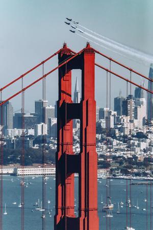 Blue Angels Fly at Golden Gate Bridge, San Francisco-Vincent James-Photographic Print