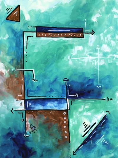 Blue Aqua Brown Abstract PoP Art-Megan Aroon Duncanson-Art Print