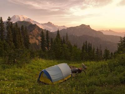 Blue backpacking tent in the Tatoosh Wilderness, Washington State, USA-Janis Miglavs-Photographic Print