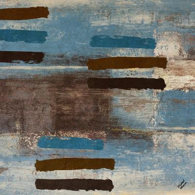 Blue Bared Abstract Square I-Michael Marcon-Art Print