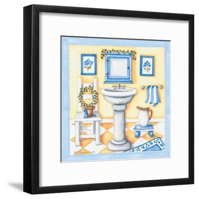 Blue Bathroom Sink-Kathy Middlebrook-Framed Premium Giclee Print