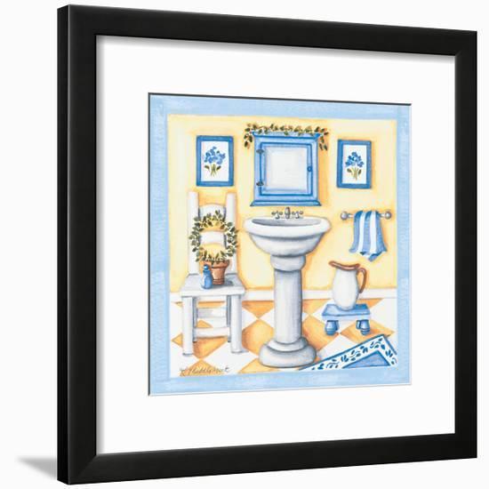 Blue Bathroom Sink-Kathy Middlebrook-Framed Premium Giclee Print