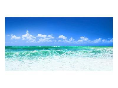 Blue Beach Panorama--Art Print