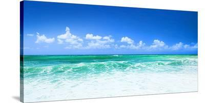 Blue Beach Panorama--Stretched Canvas Print