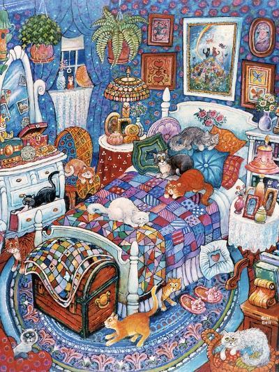 Blue Bedroom Cats-Bill Bell-Giclee Print