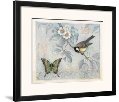 Blue Bird and Butterfly-Susan Winget-Framed Art Print