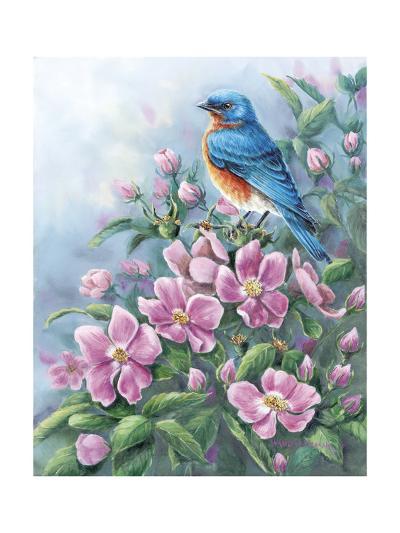 Blue Bird and Wild Roses-Wanda Mumm-Giclee Print