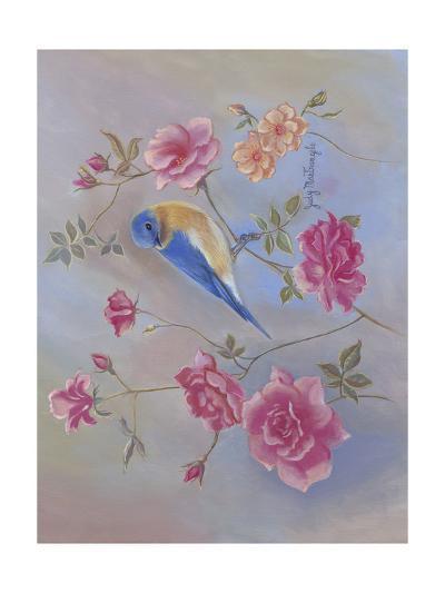 Blue Bird in Roses-Judy Mastrangelo-Art Print
