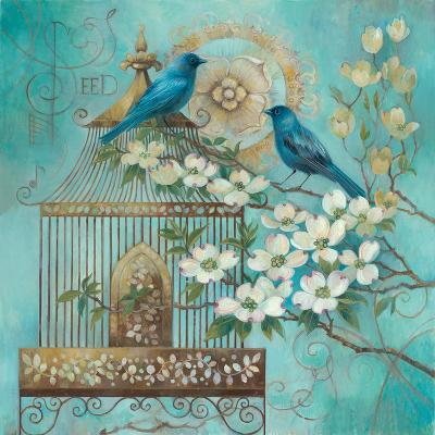 Blue Birds and Dogwood-Elaine Vollherbst-Lane-Art Print