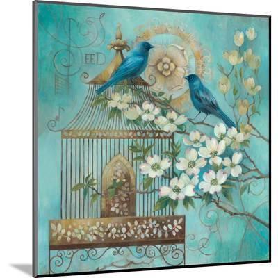 Blue Birds and Dogwood-Elaine Vollherbst-Lane-Mounted Print