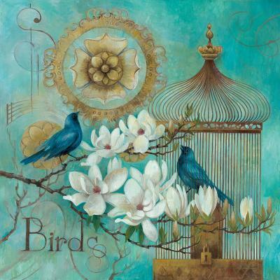 Blue Birds and Magnolia-Elaine Vollherbst-Lane-Art Print