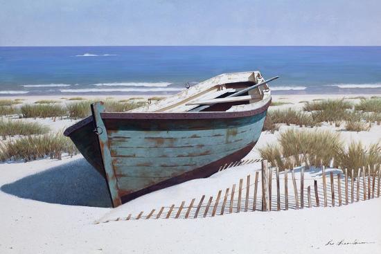 Blue Boat on Beach-Zhen-Huan Lu-Giclee Print