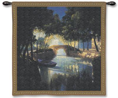 Blue Boat-Max Hayslette-Wall Tapestry