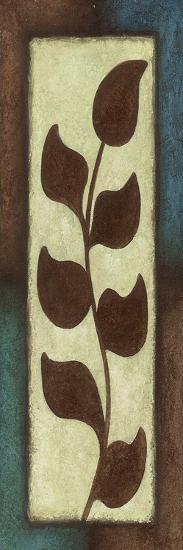 Blue Brown Leaves Tall Left-Kristin Emery-Art Print
