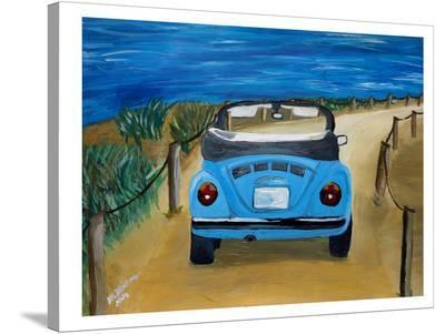 Blue Bug At Beach-M Bleichner-Stretched Canvas Print
